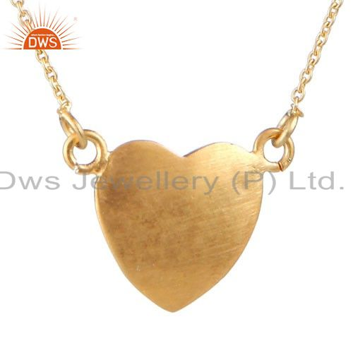 18K Yellow Gold Plated Sterling Silver Heart Pendant With Link Chain Necklace