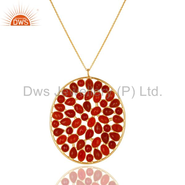 14k gold plated 925 sterling silver handmade checkered red onyx chain pendant
