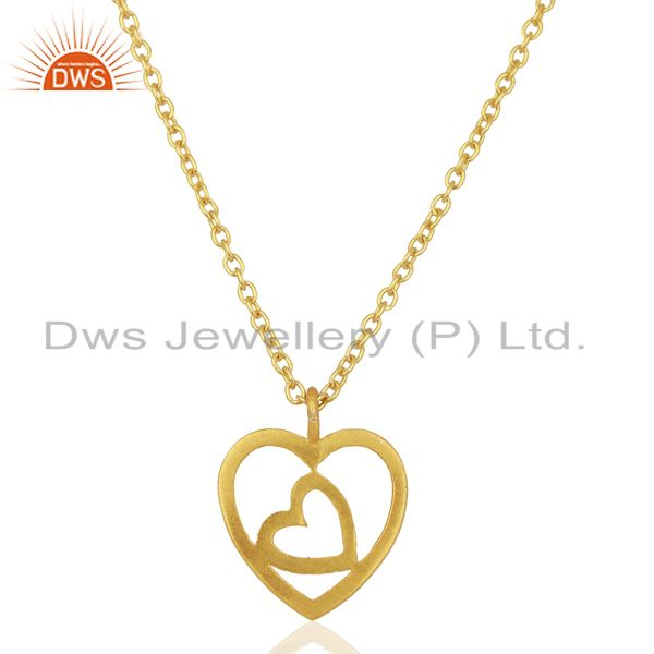 Handmade Heart 18K Yellow Gold Plated 925 Sterling Silver Chain Pendant Jewelry