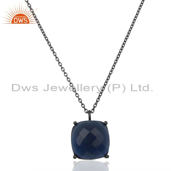 Blue Corundum Black Oxidized 925 Sterling Silver Chain Pendant Necklace Jewelry