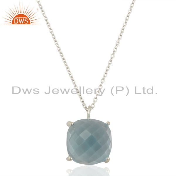 Blue Corundum 925 Sterling Silver Chain Pendant Necklace Gemstone Jewelry