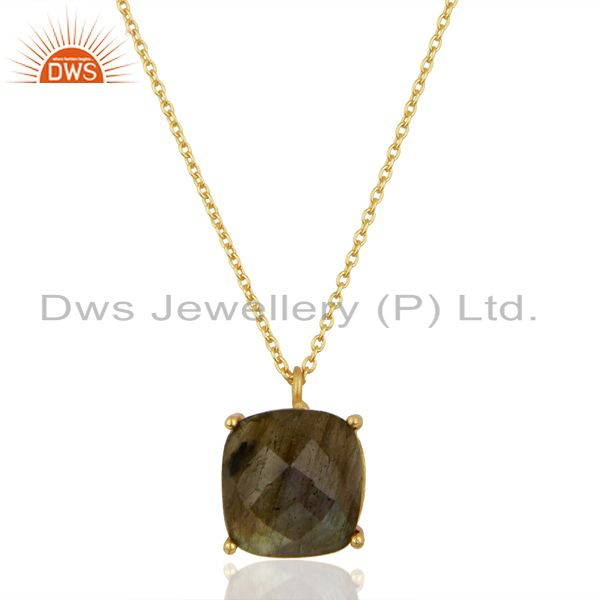 Labradorite 18K Gold Plated 925 Sterling Silver Sterling Silver Chain Pendant