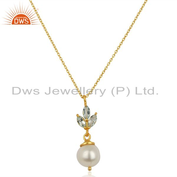 Blue topaz pearl 18k gold plated sterling silver chain pendant necklace jewelry
