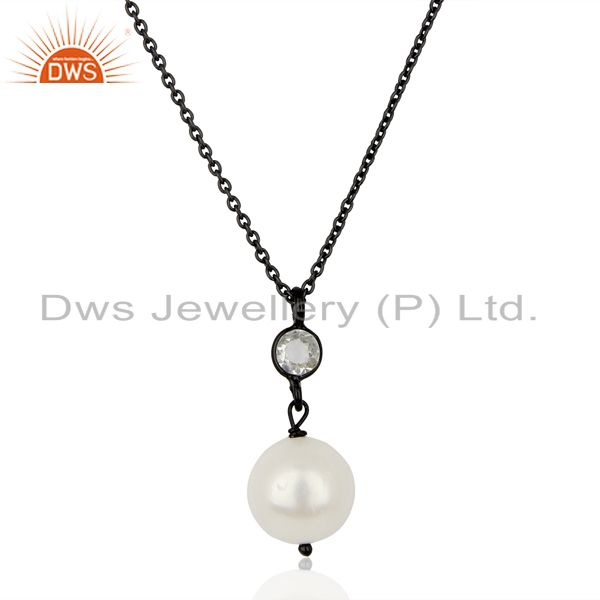Pearl White Topaz Black Oxidized 925 Sterling Silver Chain Pendant Jewelry