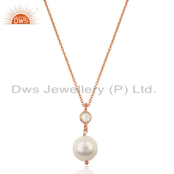 Pearl White Topaz 14K Rose Gold Plated 925 Sterling Silver Chain Pendant Jewelry