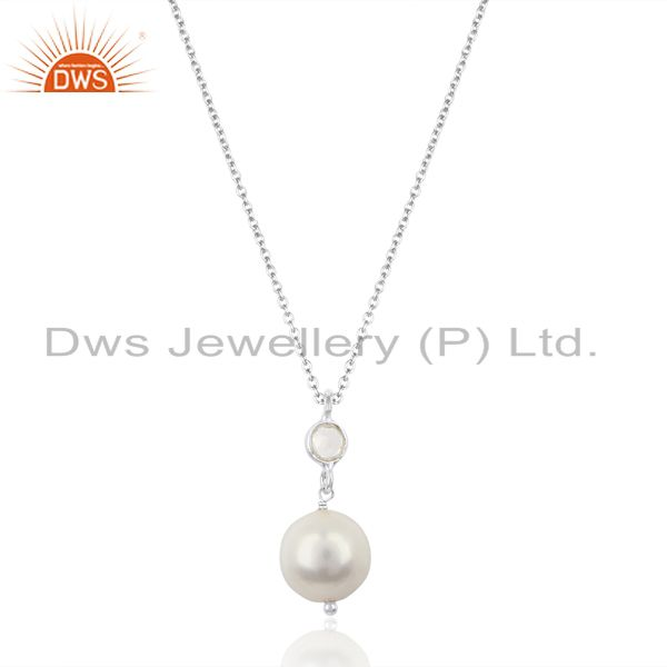 Pearl White Topaz Gemstone 925 Sterling Silver Chain Pendant Necklace Jewelry