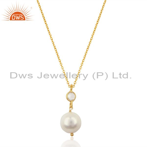 Pearl White Topaz 14K Gold Plated 925 Sterling Silver Chain Pendant Jewelry