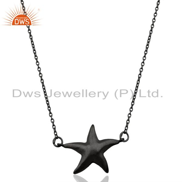 Black Oxidized 925 Sterling Silver Star Design Chain Pendant Necklace Jewelry