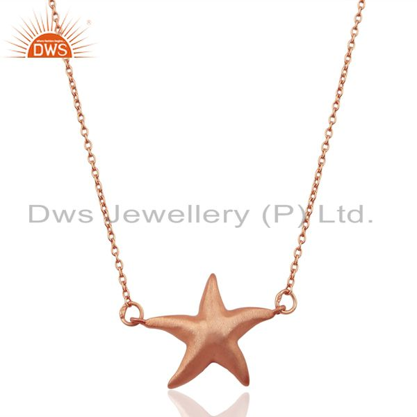 14k rose gold plated 925 sterling silver star design chain pendant jewelry