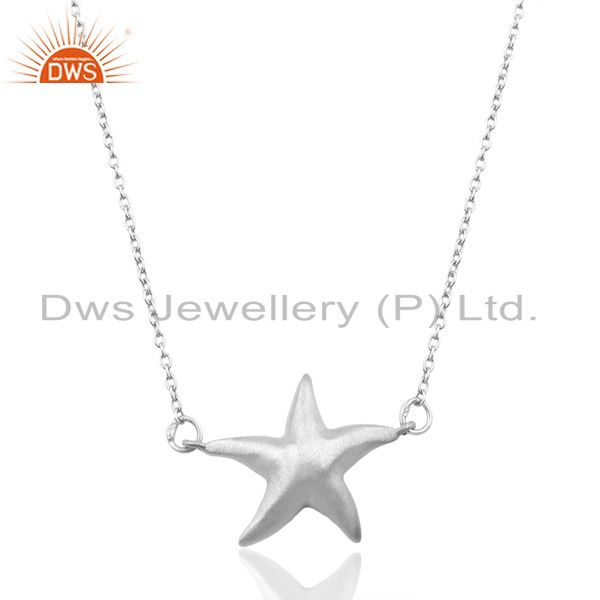 Handmade Star Design 925 Sterling Silver Chain Pendant Necklace Jewelry