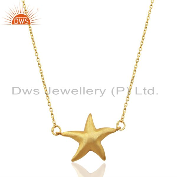 14k yellow gold plated 925 sterling silver star design chain pendant jewelry