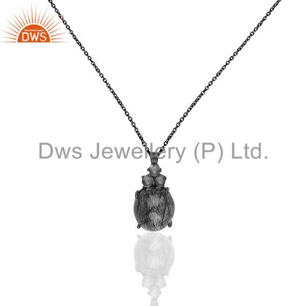Black Rutile and Crystal Quartz Gemstone  Black Silver Chain Pendant