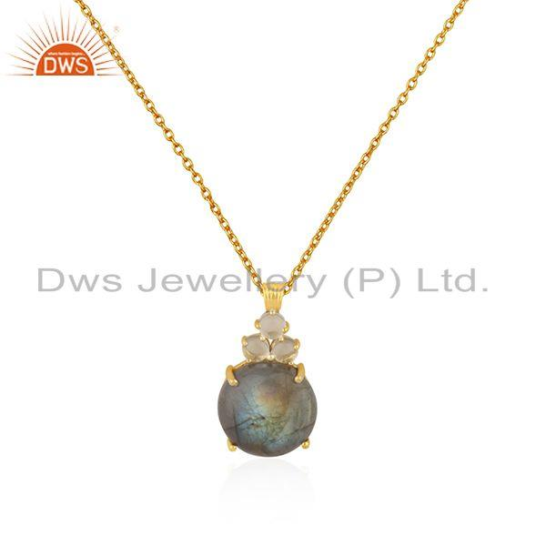 Crystal Quartz and Labradorite Gemstone Gold Plated 925 Silver Chain Pendant