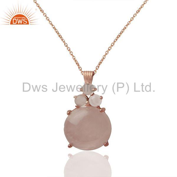 Rose Quartz Gemstone Rose Gold plated 92.5 Silver Chain Pendant