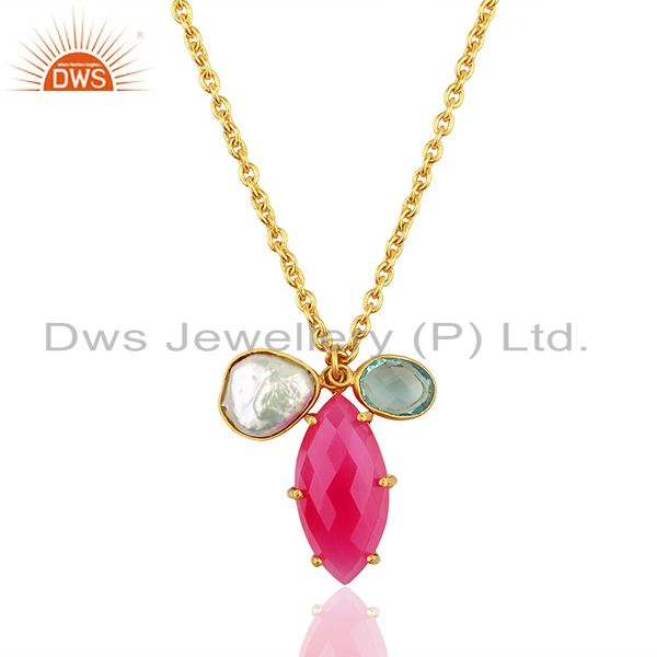 Pearl and Pink Chalcedony Gemstone Fashion Pendant Necklace Jewelry