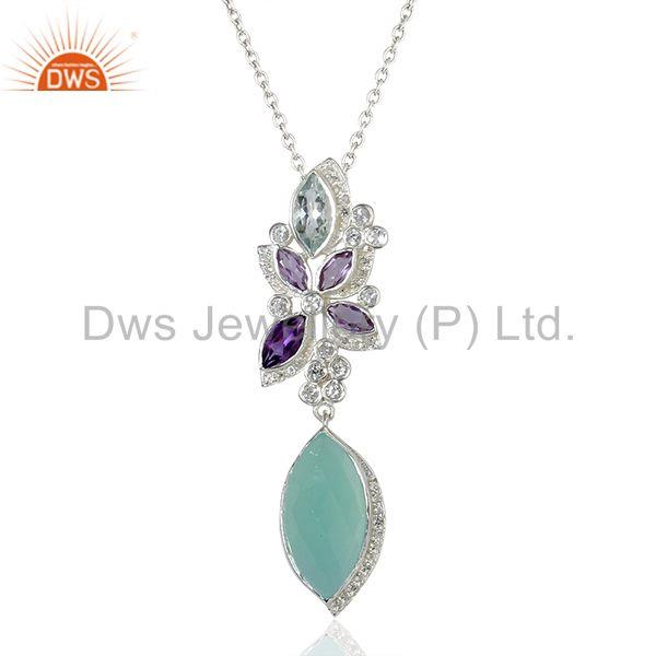 Aqua Chalcedony Gemstone White Topaz Gemstone Pendant Necklace