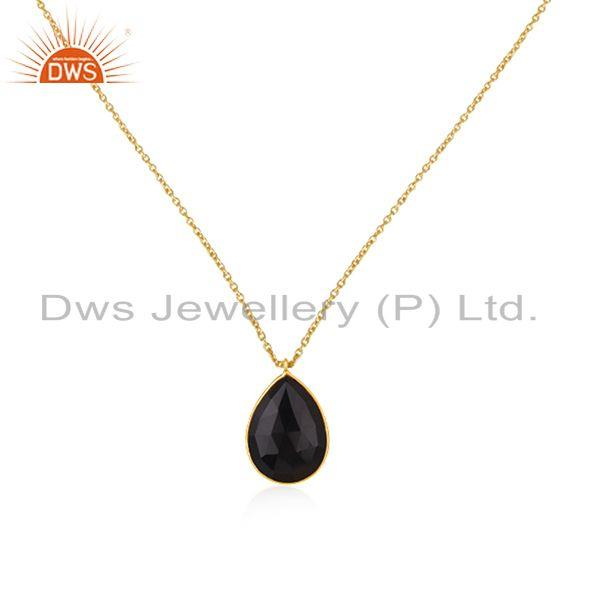 Black Onyx Gemstone 925 Silver Gold Plated Chain Pendant Wholesale