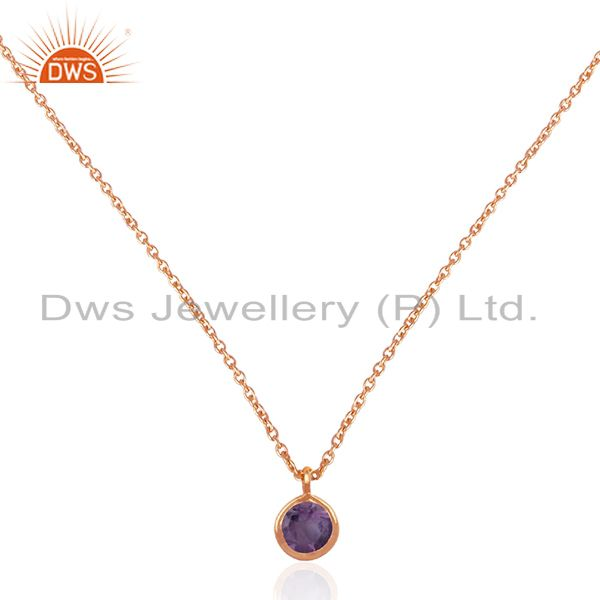 Handmade Rose Gold Plated 925 Silver Chain Amethyst Gemstone Pendant Wholesale