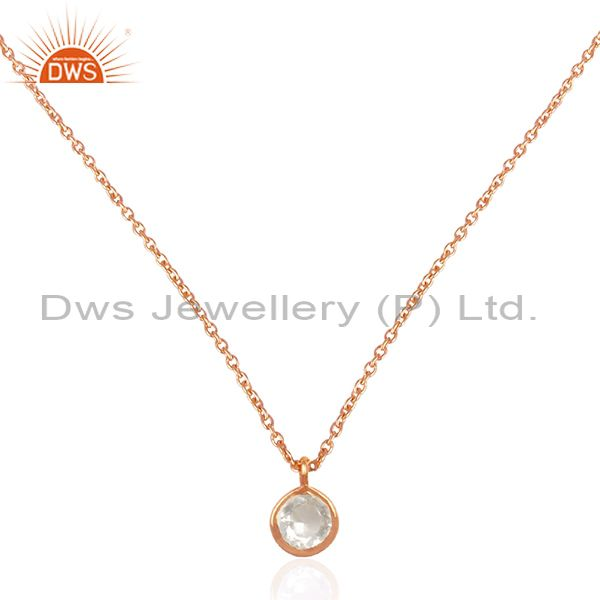 Crystal Quartz Stone Rose Gold Plated 925 Silver Chain Pendant Manufacturers