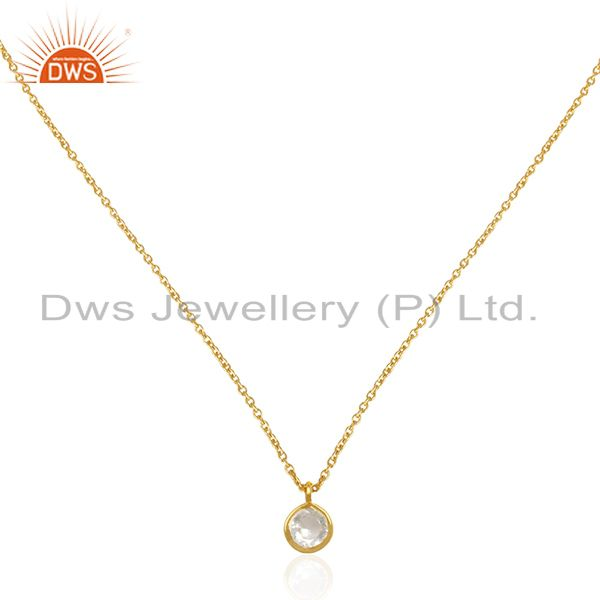 Crystal quartz gold plated 92.5 sterling silver 18inch chain pendant wholesaler