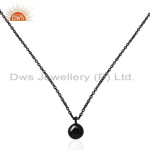 Round hematite gemstone pendant black sterling silver chain jewelry manufacturer