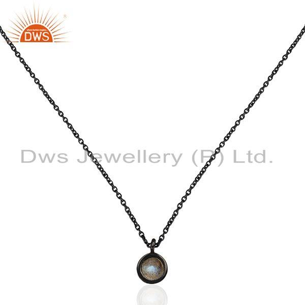 92.5 silver black rhodium plated labradorite gemstone pendant manufacturer india