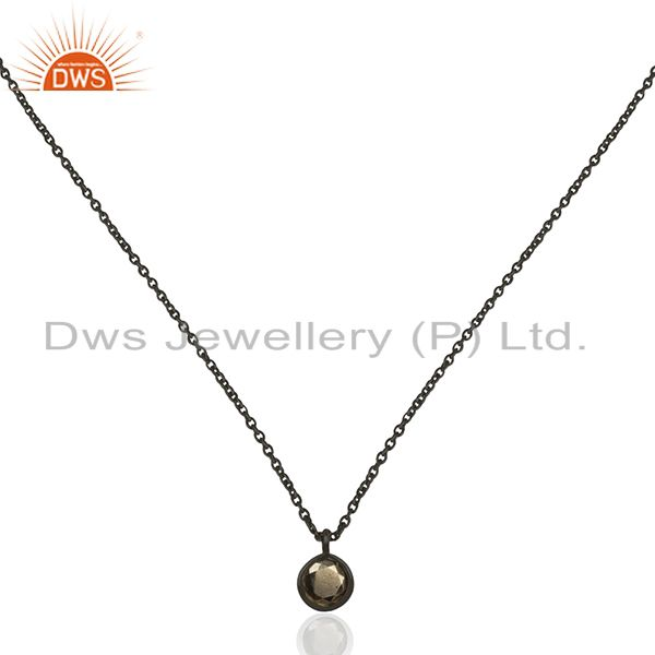 Pyrite Gemstone 925 Silver Black Rhodium Plated Pendant Wholesale Suppliers