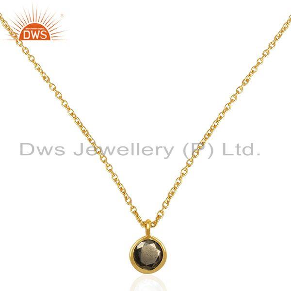14k gold plated sterling silver pyrite gemstone pendant manufacturer jaipur