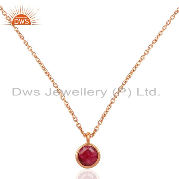 Ruby corundum gemstone rose gold plated 925 silver pendant supplier jaipur india
