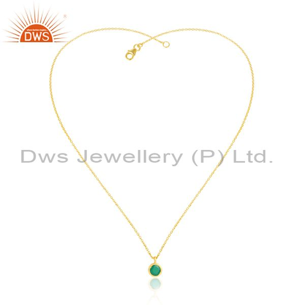 Green Onyx Set Classy Gold On 925 Silver Pendant And Chain