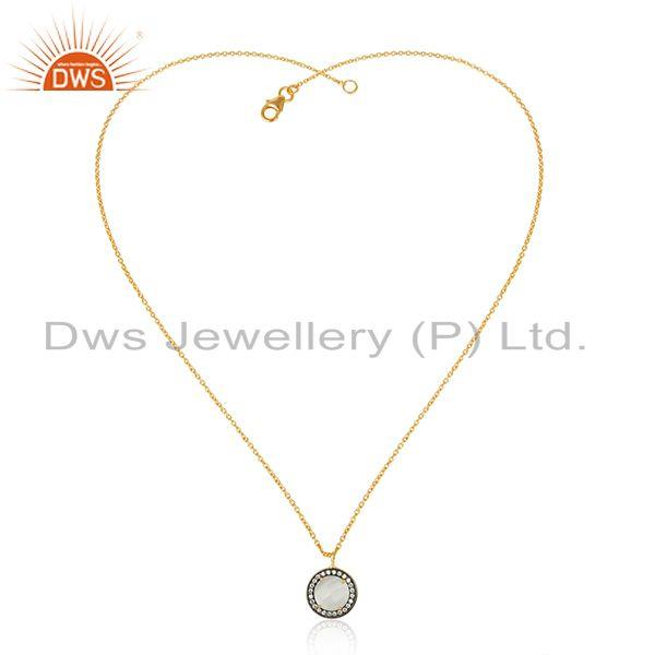 Round Gold Plated Silver CZ White Moonstone Chain Pendant Necklace