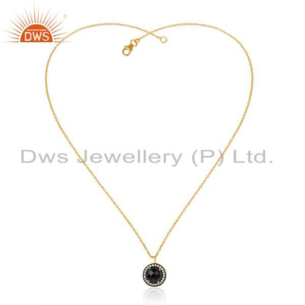 CZ Black Onyx Gemstone Round Silver Gold Plated Pendant Necklace