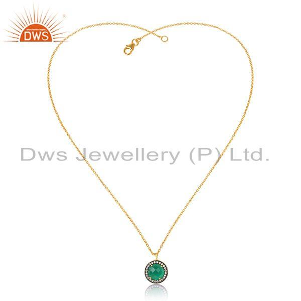 CZ Green Onyx Gemstone Round Silver Gold Plated Pendant Necklace