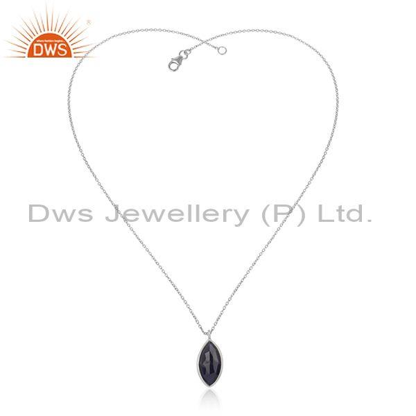 Cultured Blue Corundum Pendant With Fine 925 Silver Chain