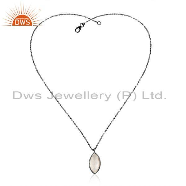 Oval Crystal Quartz Pendant With Rhodium Plated Silver Chain