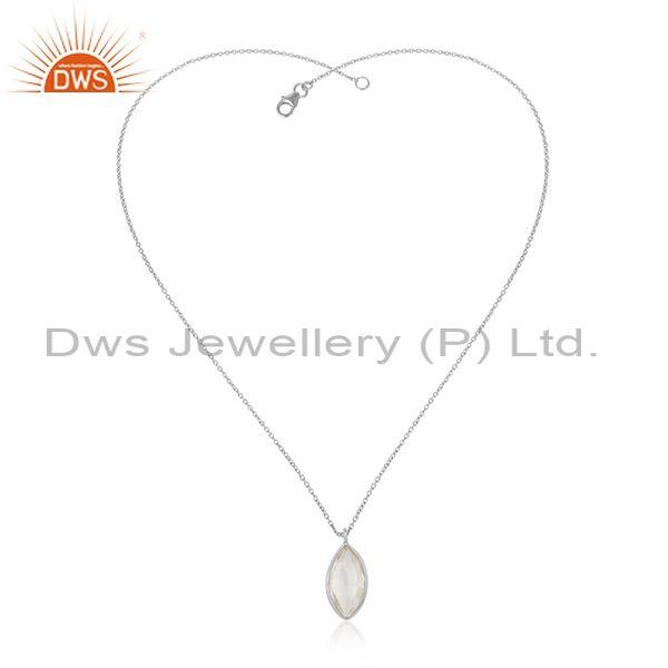 Oval Cut Crystal Quartz Pendant With Fine 925 Silver Chain