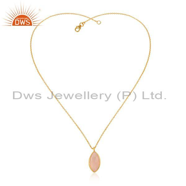 Rose Chalcedony Pendant With Gold Plated Silver Chain