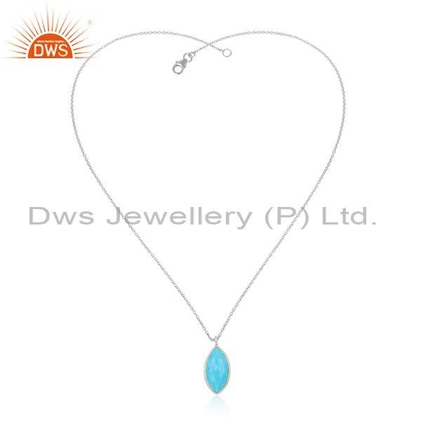 Turquoise Cultured Oval Pendant With Fine Silver Chain