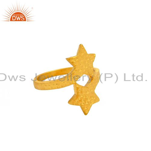 18K Yellow Gold Plated Sterling Silver Textured Double Star Statement Ring