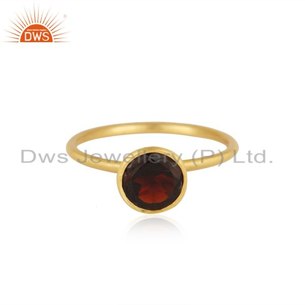 18K Yellow Gold Plated Sterling Silver Garnet Gemstone Stackable Ring