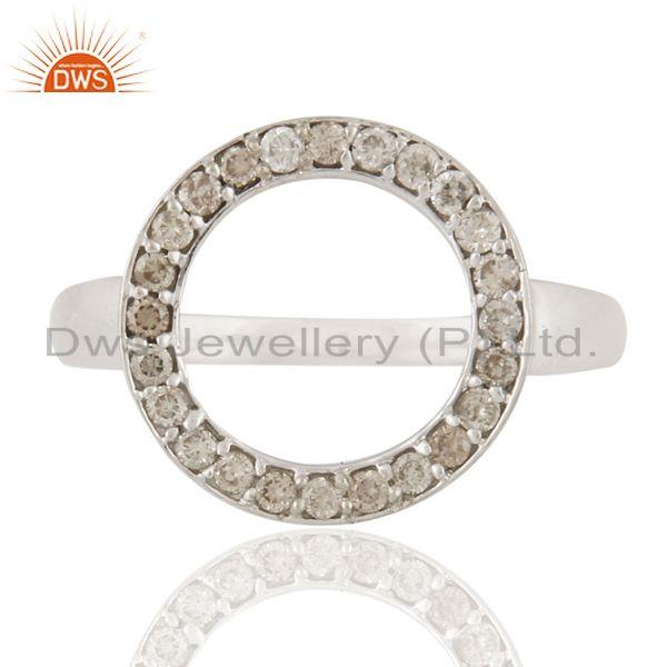 18k solid white gold natural diamond pave set circle ring jewelry
