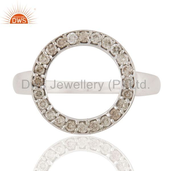 925 Sterling Silver Pave Set Natural Diamond Open Circle Ring