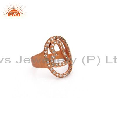 18k rose gold plated 925 silver white topaz heart dome ring