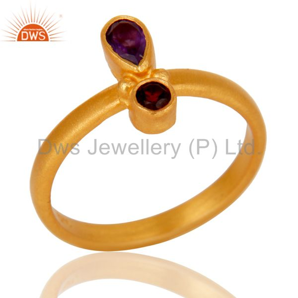 18K Yellow Gold Plated Sterling Silver Garnet And Amethyst Statement Ring