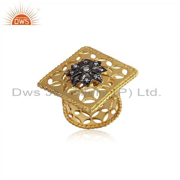 Cz set gold and black on silver handmade traditional ring
