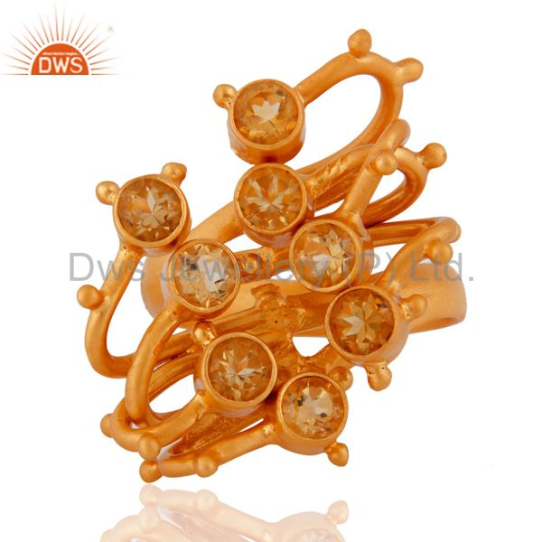 Gold Plated 925 Sterling Silver Citrine Gemstone Designer Women Fashion Ring