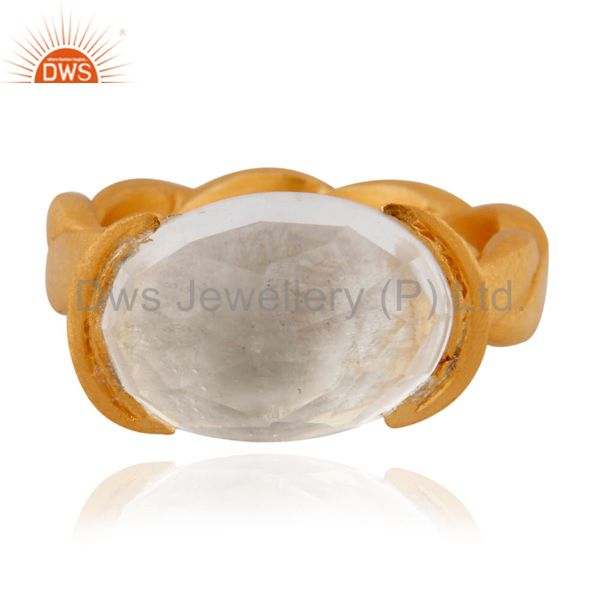 18K Yellow Gold Plated Sterling Silver Crystal Quartz Oval Ring