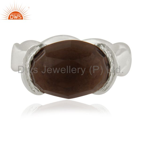 925 Sterling Silver Natural Smoky Quartz Oval Cut Gemstone Ring