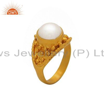 Natural Pearl Dome Ring Made In 18K Yellow Gold Over Sterling Silver