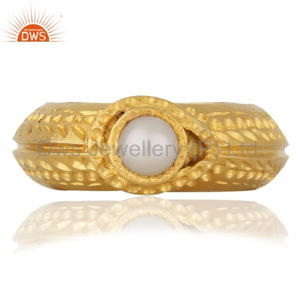 18K Yellow Gold Plated Sterling Silver Natural Pearl Textured Designer Ring